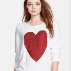 WILDFOX WHITE SPARKLE HEART SWEATSHIRT TOP XS